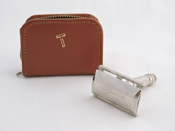 Vintage 1960's Gillette Travel Razor - Travel Tech Double Edge Safety Razor in Small Leather Case