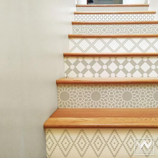 Moroccan Stair Riser Decals: Tan