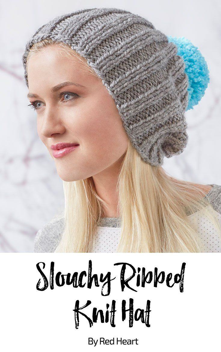 Slouchy Ribbed Knit Hat free knit pattern in Super Saver Chunky yarn ...