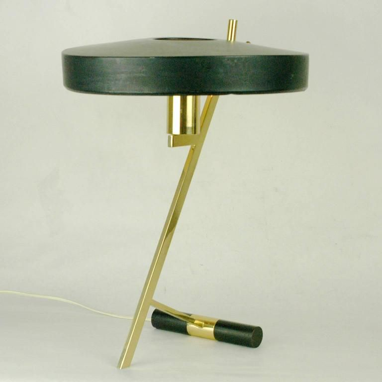 Brass table lamp by louis kalff for philips