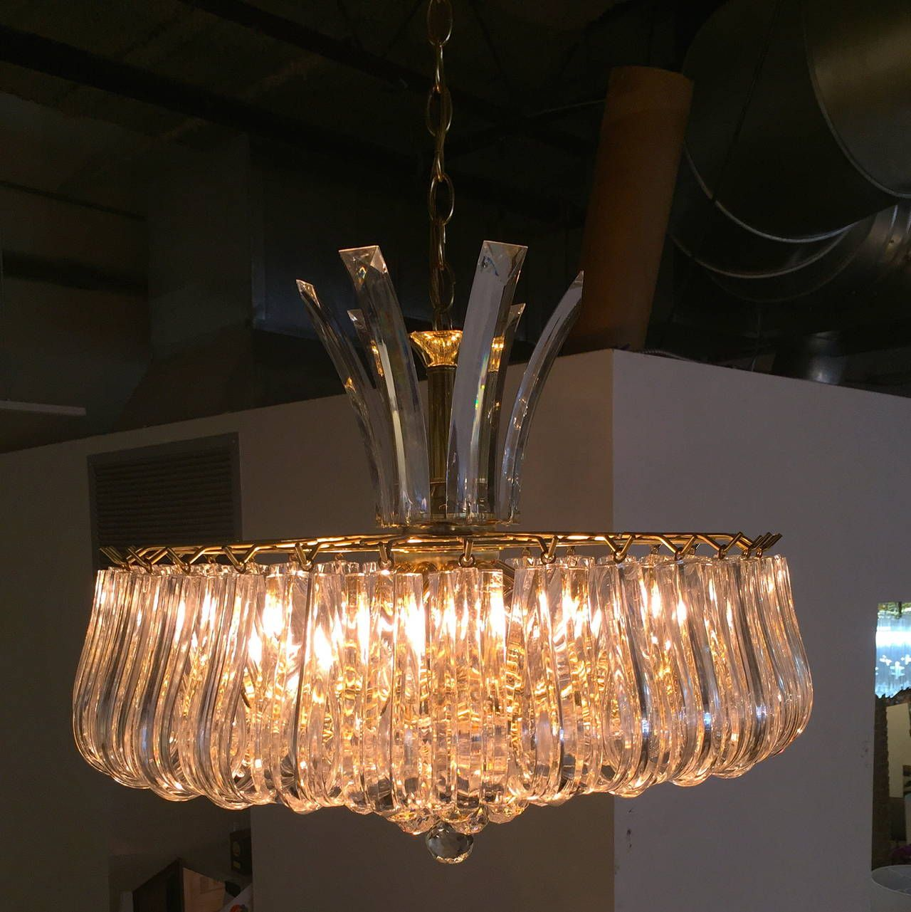 Triarch Lucite Chandelier | From a unique collection of antique and modern chandeliers and pendants  at https://www.1stdibs.com/furniture/lighting/chandeliers-pendant-lights/