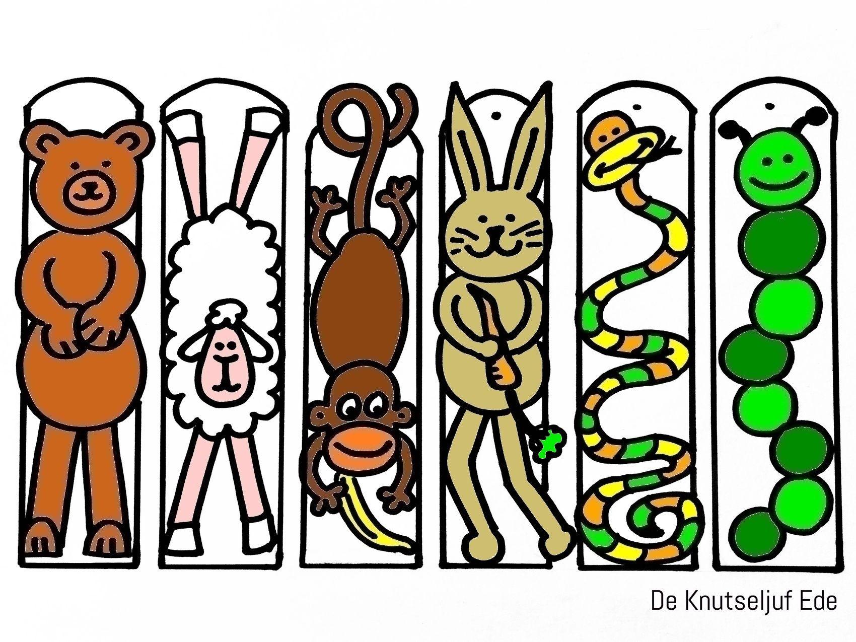 kleurplaten boekenleggers dieren zelfgemaakte
