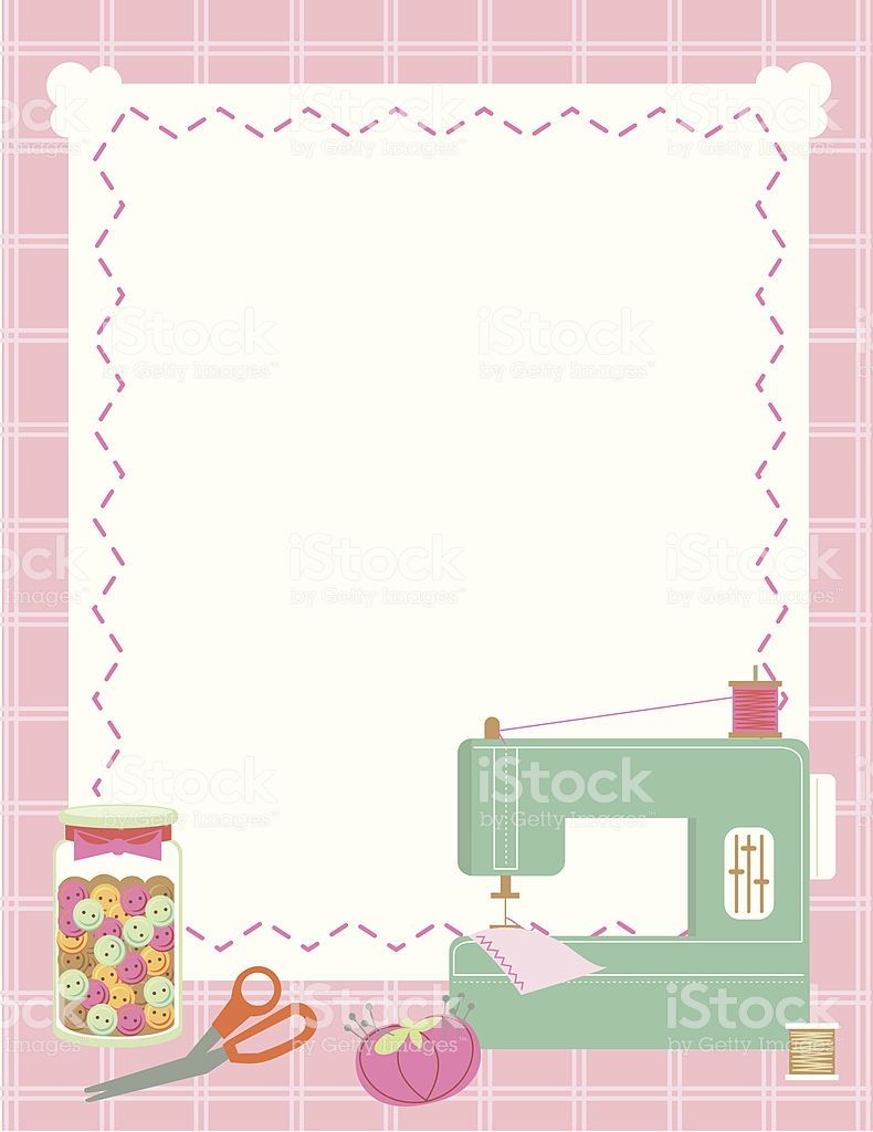 Sewing Machine And Accessories Border And Background Sewing Logo Sewing Art Cartoon Sewing