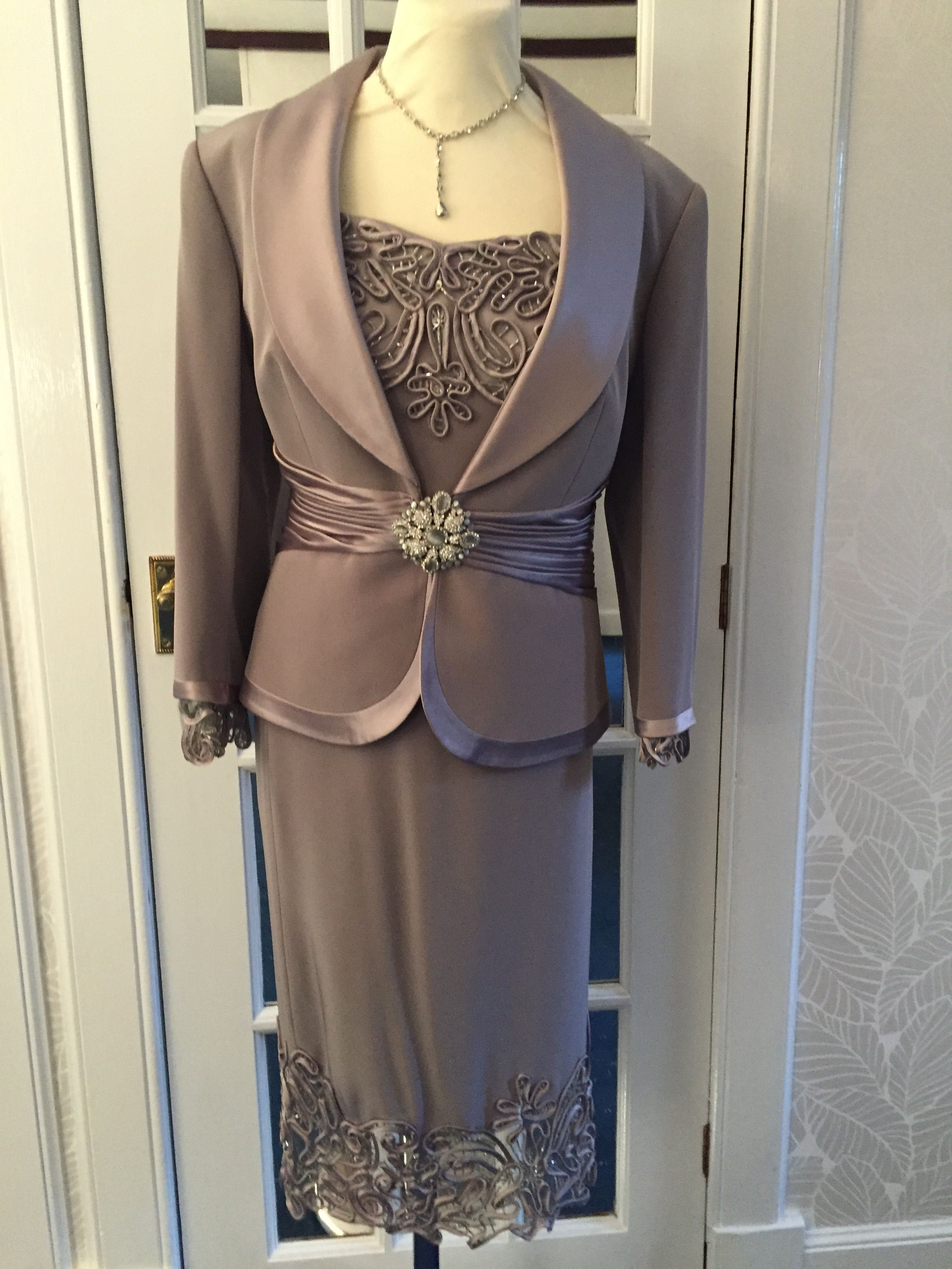 Mink coloured 3 piece suit ideal for mother of the bride or groom. Beautiful intricate detailing on the cuffs of the jacket and the hem of the skirt