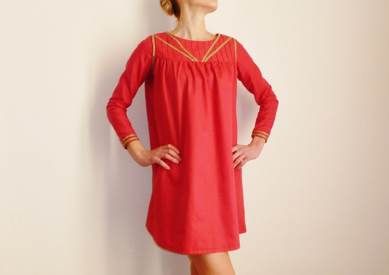 """Robes courtes, VENDUE Robe rose à galons """"or vieilli"""" TARA est une création orginale de l-armoire-d-ondine sur DaWanda"""