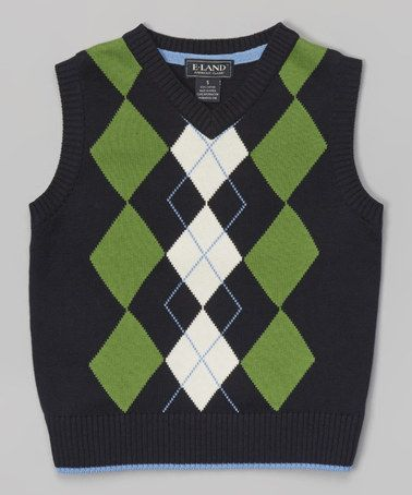 Look at this #zulilyfind! Navy & Green Argyle Sweater Vest ...