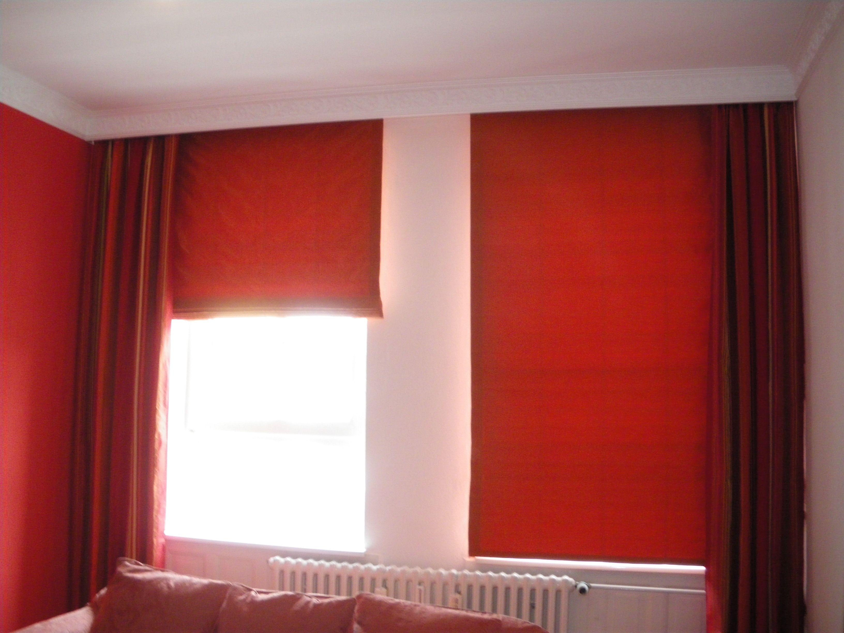 Stuck Seide Nature Rot Naturmaterial Raffrollo Seitenschal Dekortion Schlafzimmer Wohnzimmer Altbau Kiel Faltrollo Abfutterung Nahen