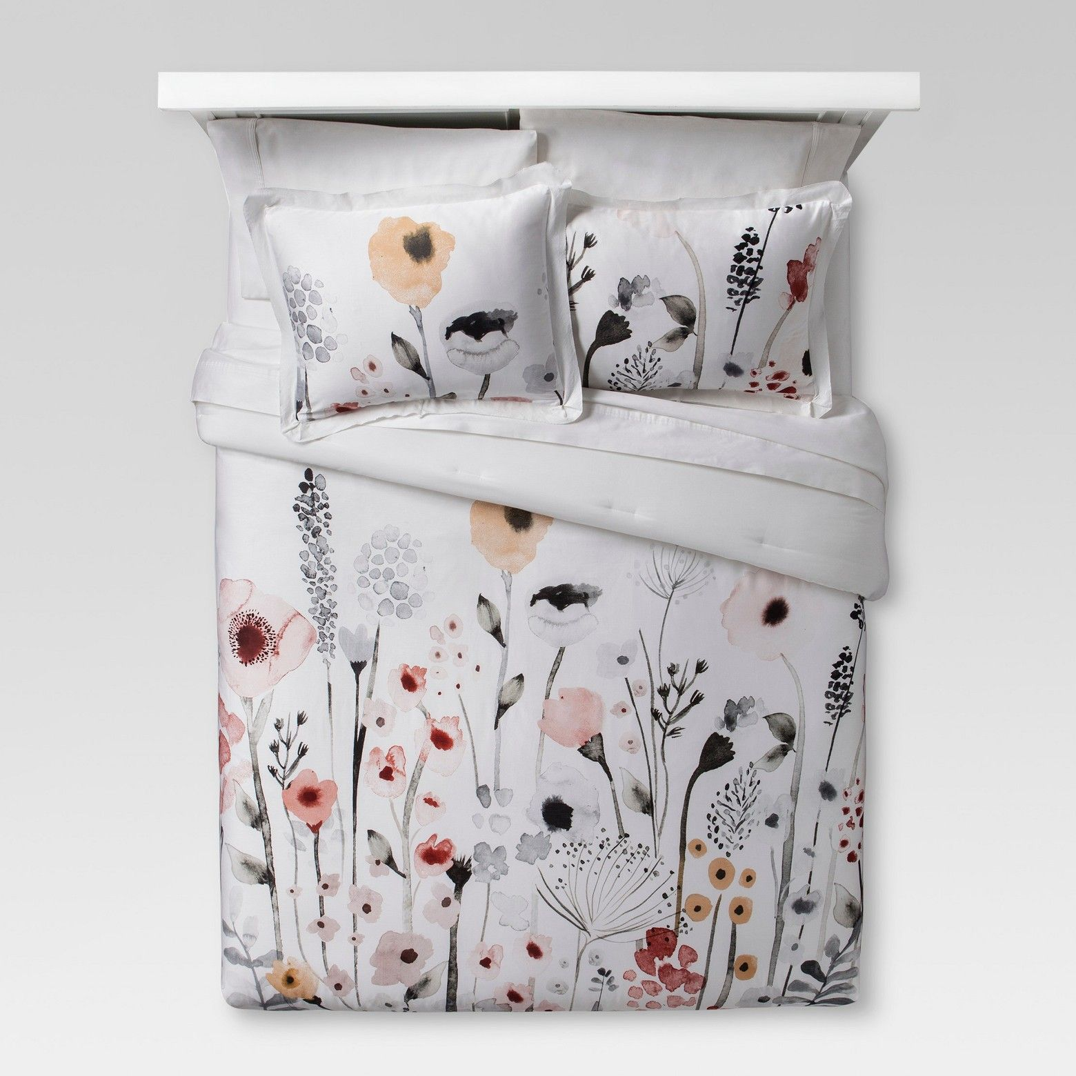 White Floral Watercolor Comforter Set Full Queen 3pc Threshold