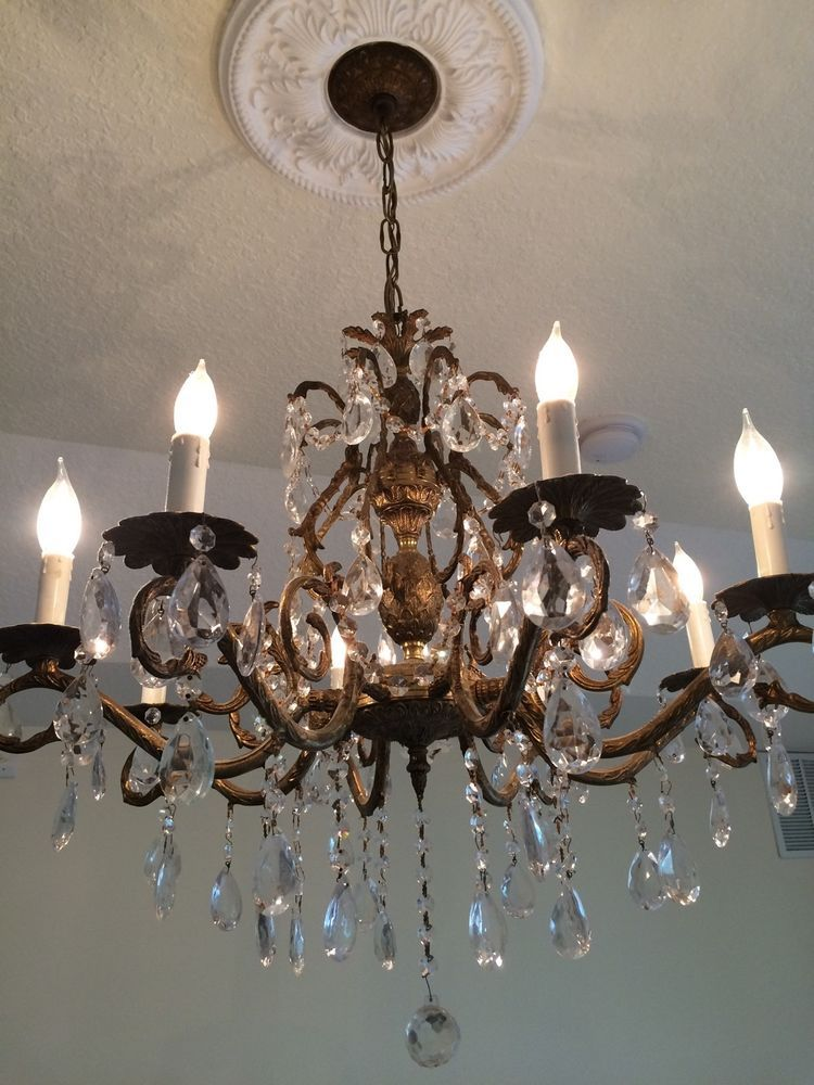 Antique Crystal Chandelier Brass ebay 499 Antique Chandelier, Chandeliers,  Diy Wall Decor, Sconces - Antique Crystal Chandelier Brass Ebay 499 Easter Pinterest