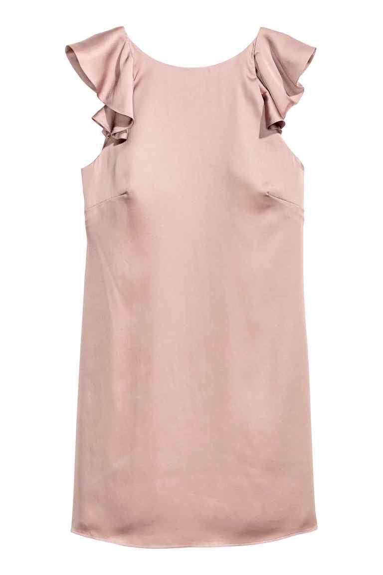Vestido de satén con volantes - Rosa empolvado - MUJER | H&M ES ...