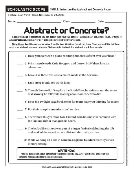 Concrete and abstract nouns worksheets with answers
