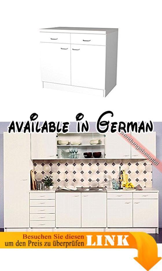 B017L2WDKO  Küchen Unterschrank Rapido 100 cm weiss Melamin US 100