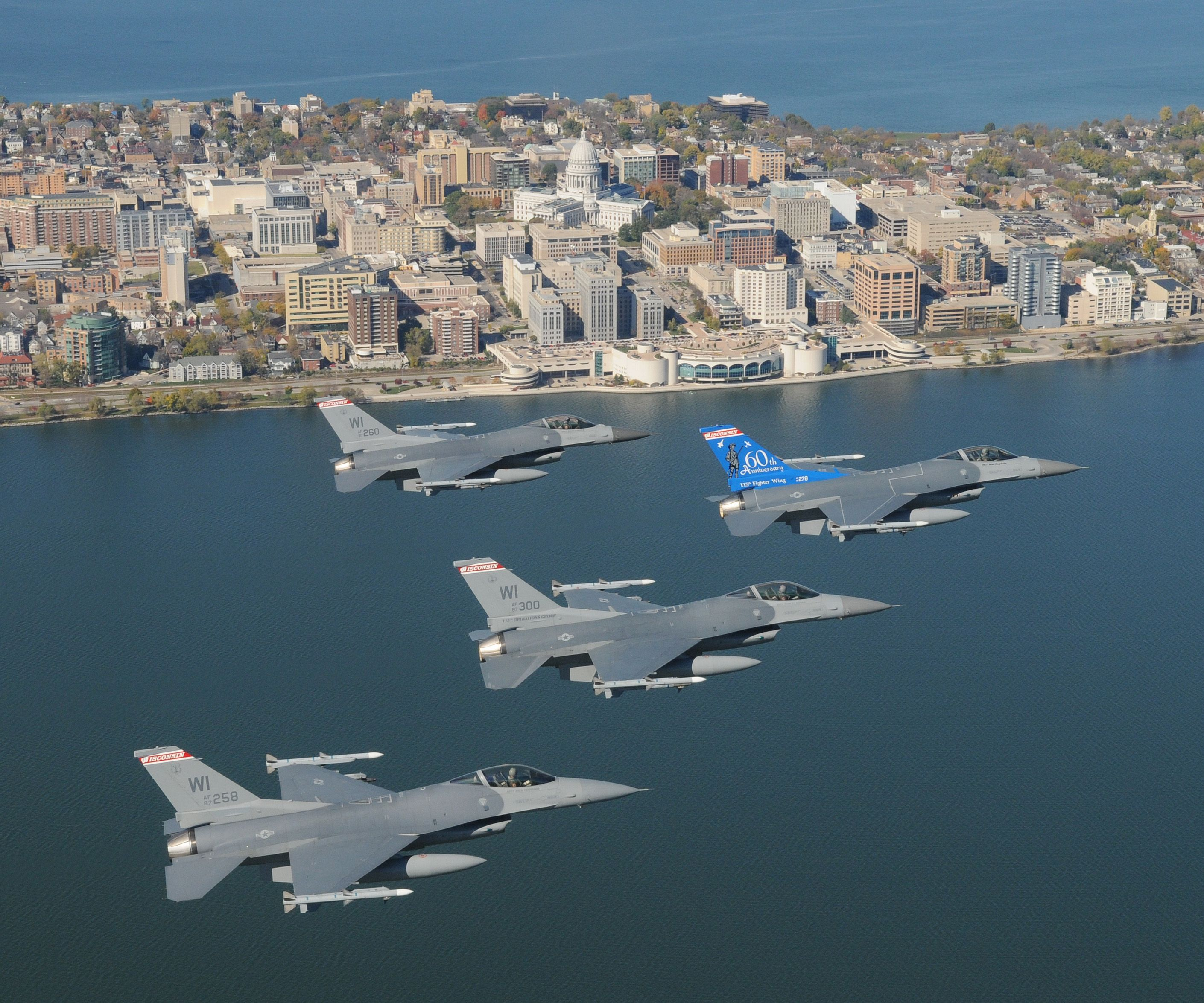 Wisconsin Air National Guard flying over Madison.