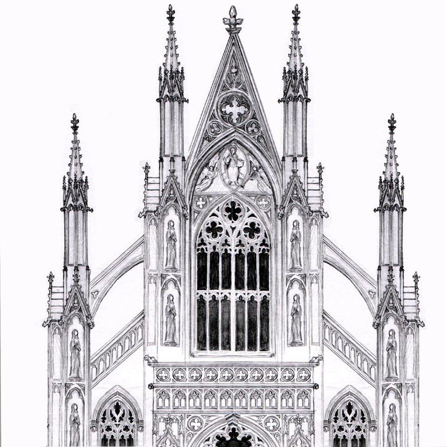 Gothic Facade By Dashinvaine On Deviantart Cathedral Architecture Gothic Architecture Drawing Gothic Architecture