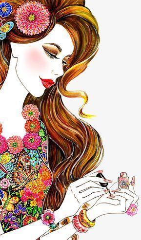 Pintado A Mano Hermoso Mujeres Extranjeras