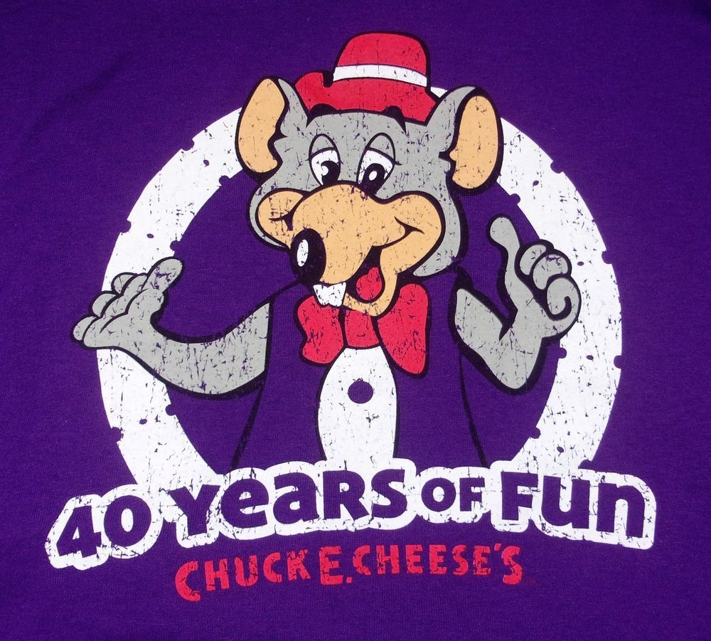 d899e1c8 Chuck E. Cheese's 40 Years Of Fun T-Shirt Adult XL X-Large Partying Since 77