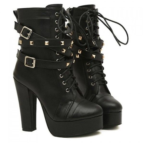 Patent Leather Women's Round Toe Chunky Heel Lace Up Buckles Handmade Ankle Bootie with Rivets