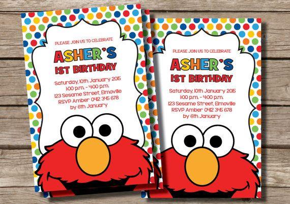 ELMO Personalized Birthday Invitation Custom by RedAppleStudio