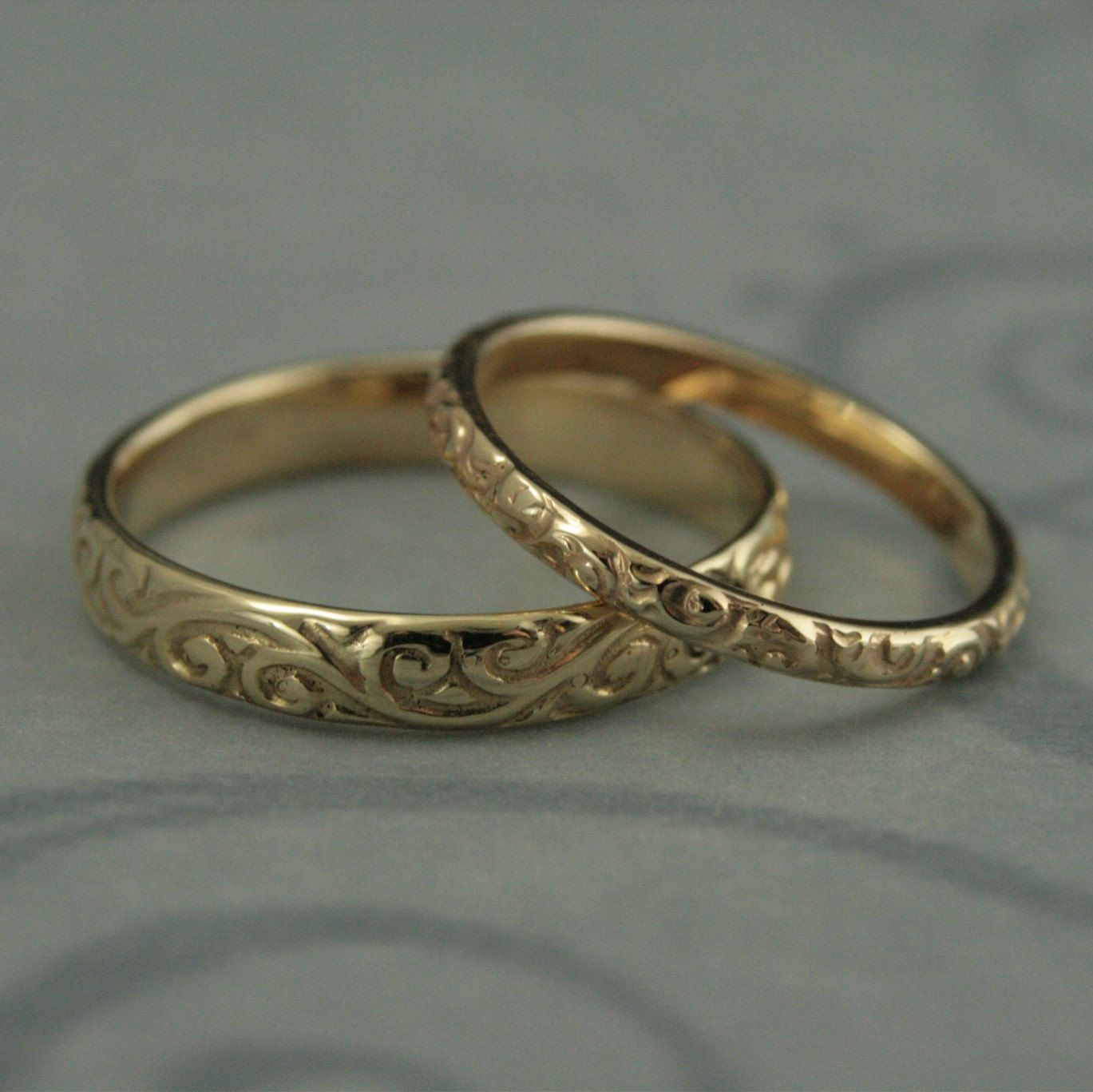 Patterned Wedding Band Set-Vintage Style Wedding Rings-His and