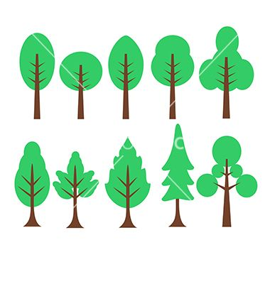 cartoon trees set vector cartoon set isolated birch tree foliage rh pinterest com white birch tree clipart birch tree clipart black and white