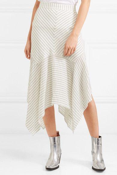 9fbea22a GANNI - Wilkie Striped Silk And Cotton-blend Seersucker Midi Skirt -  Off-white