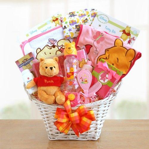 b563db2d4aba Pooh Bear Baby Girl Gift Basket