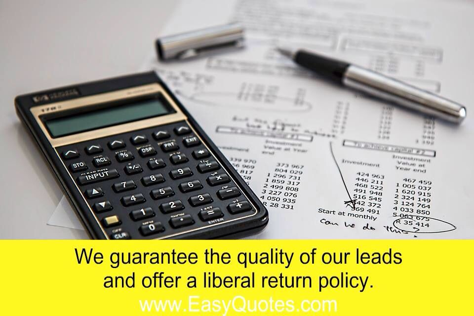 Insurance Leads At Easy Quotes we understand the difference of what good leads can mean to your business. Our marketing experts generate high-quality & high intent insurance leads. We process every lead through our advanced lead scoring technology to ensure we deliver you the very best insurance leads in the business. We guarantee the quality of our leads and offer a liberal return policy. Easy Quotes is here to be your partner and help you close more insurance sales.