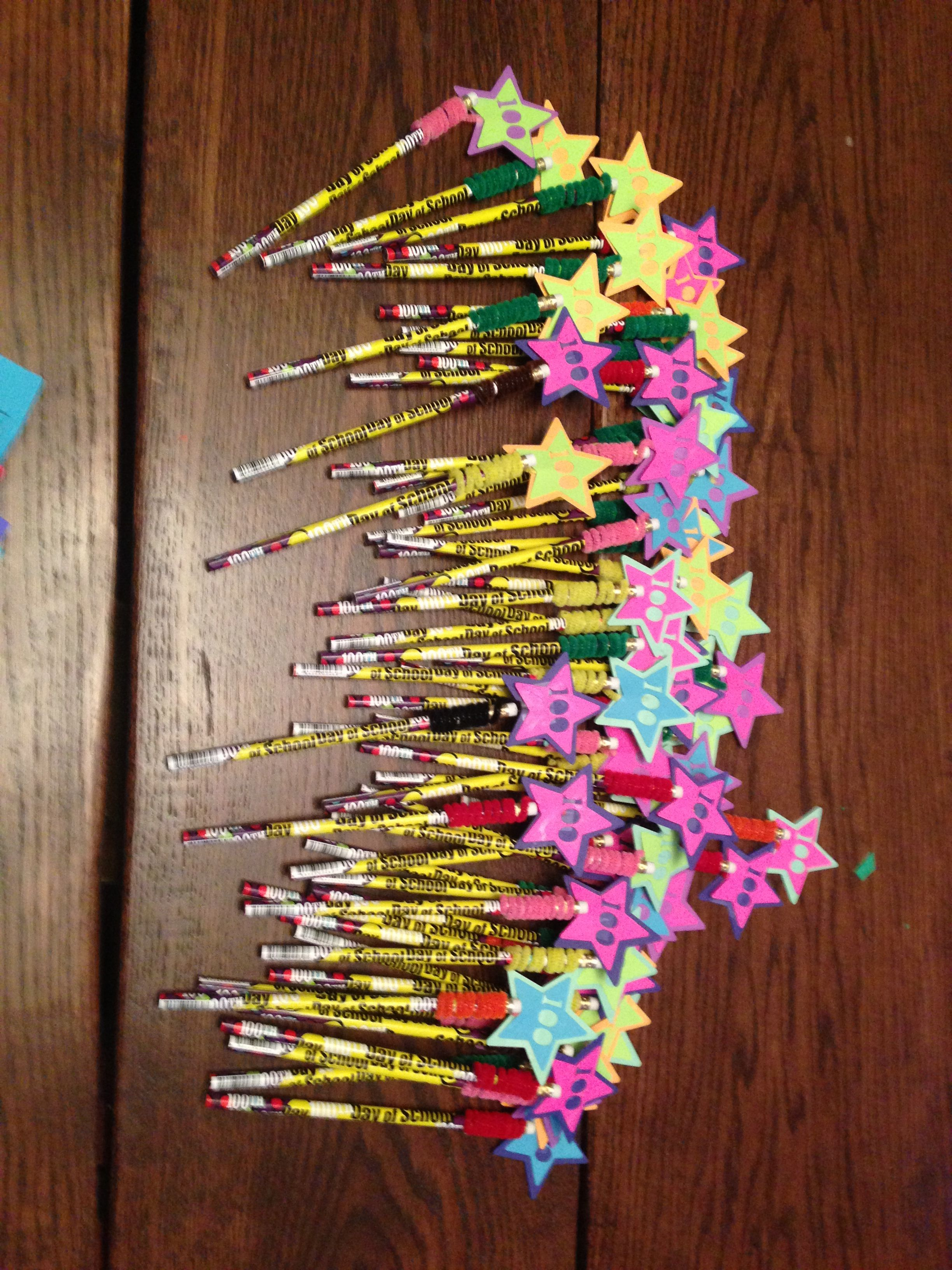 Home Made 100th Day Pencil Toppers