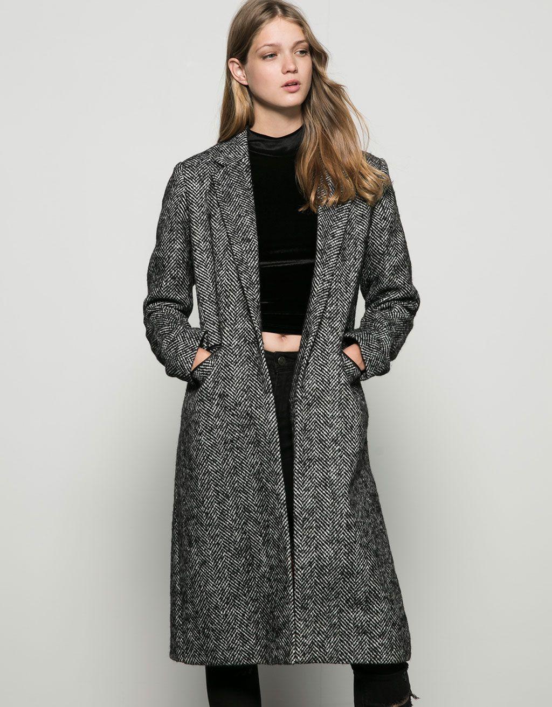 ef587253b9cb2 Sobretudo Bershka de lã comprido corte masculino - Sobretudos e blusões -  Bershka Portugal