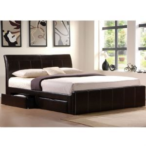 Birlea Madison Dark Brown Faux Leather Bed Frame With 4 Storage Drawers King Size 5 Foot