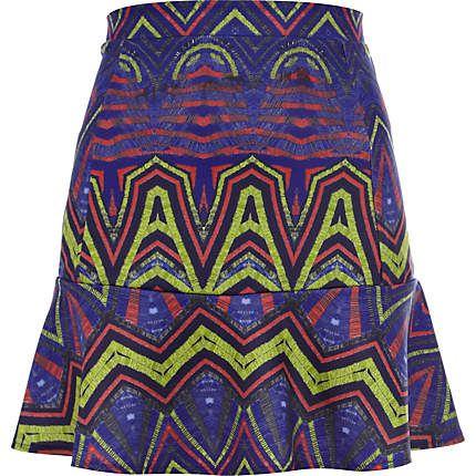 Blue geometric print drop waist skirt £18.00