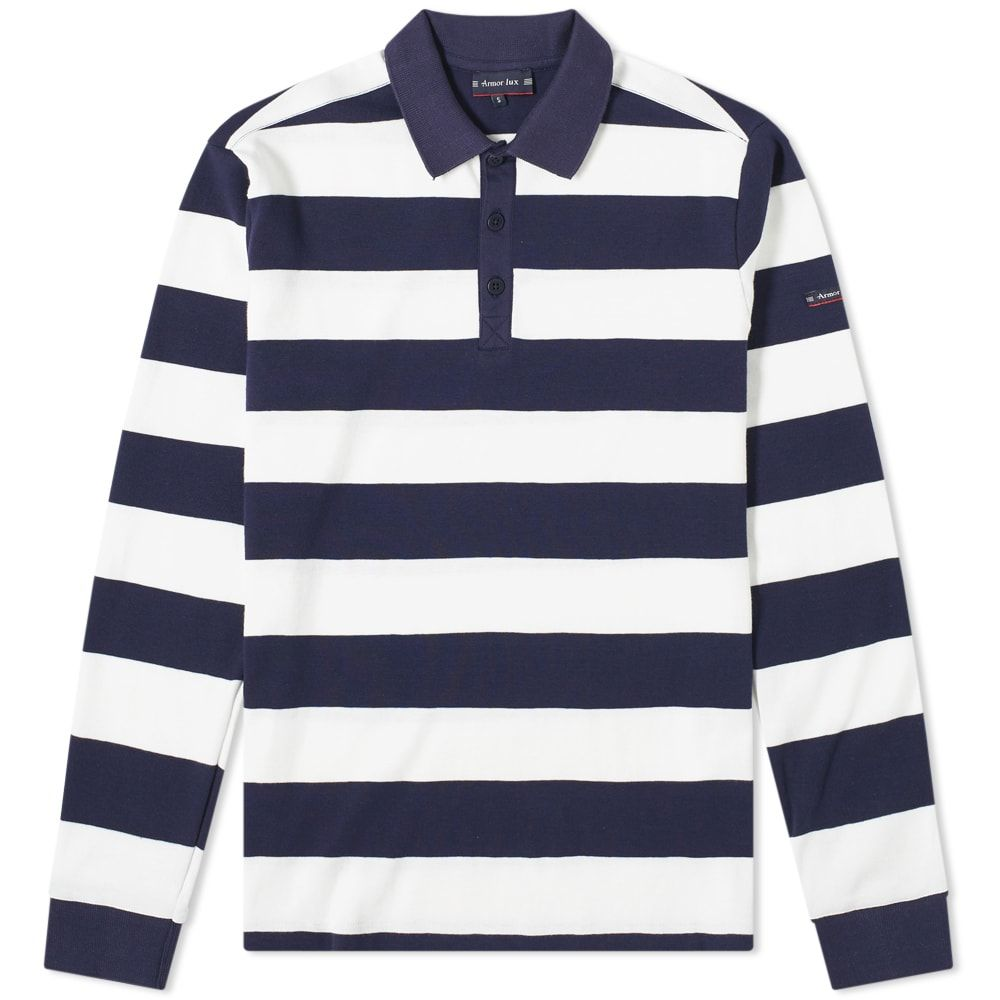Armor Lux 76876 Stripe Rugby Shirt In Blue With Images Rugby