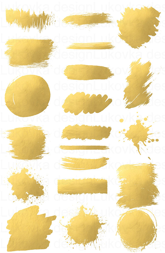 Gold Brush Strokes Gold Clipart Gold Foil Clipart Gold Splash Etsy Gold Clipart Gold Paint Golden Painting
