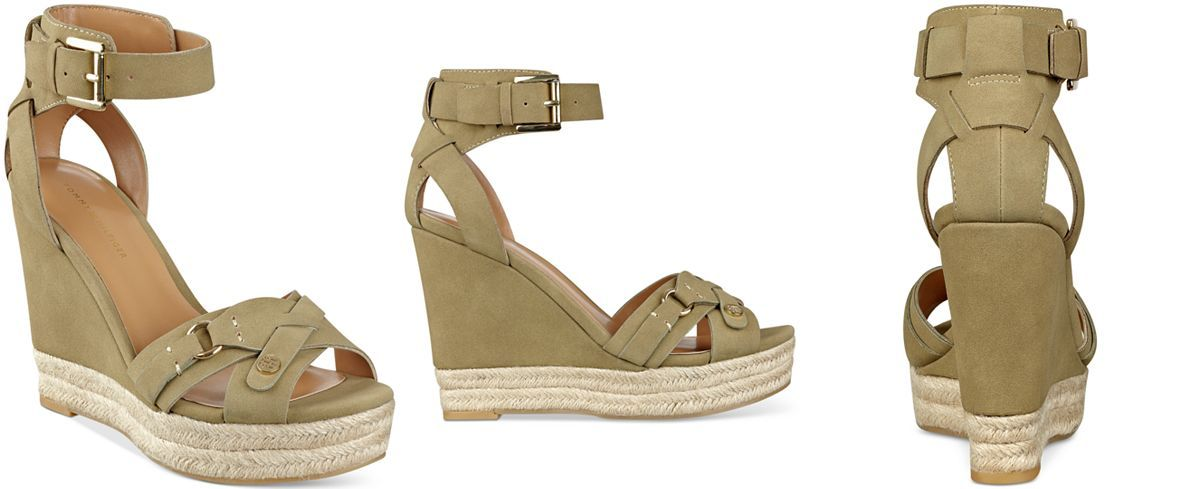 Tommy Hilfiger Velvet Espadrille Platform Wedge Sandals - Sandals - Shoes - Macy's