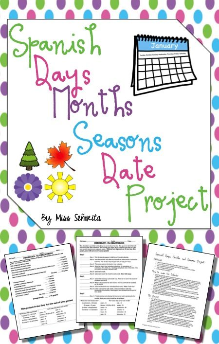 Spanish Days Months Seasons Date Calendar Project Date