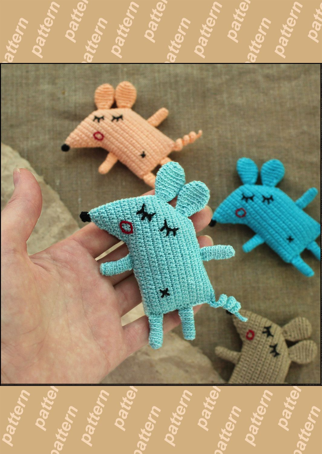 Сrochet baby toy small mouse pattern diy gift idea