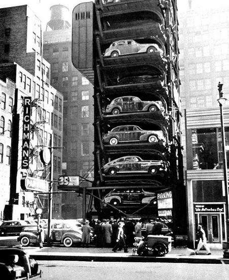 Luxury Car Parking Nyc: Vertical Parking Machine In Chicago, 1940