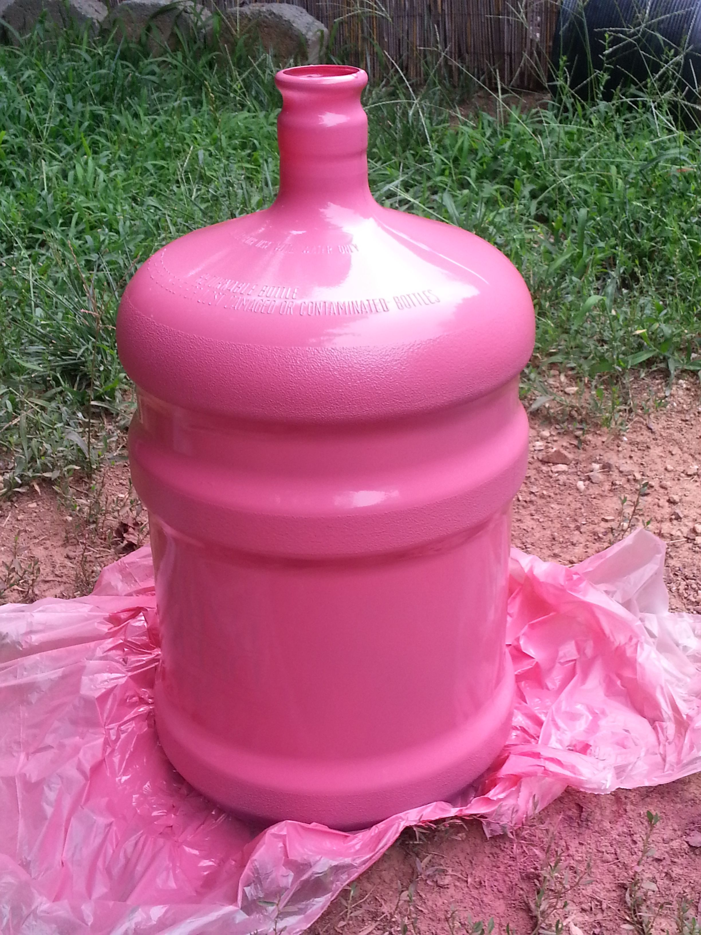 painted 5 gallon water jug mine isn 39 t 5 gallons nor does it look like this but it will be. Black Bedroom Furniture Sets. Home Design Ideas