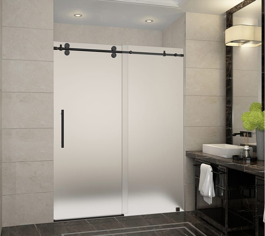 Aston Sdr978f 60 10 Langham X 75 Frameless Shower Door With 3 8 Frosted Gl Oil Rubbed Bronze Showers Doors Sliding