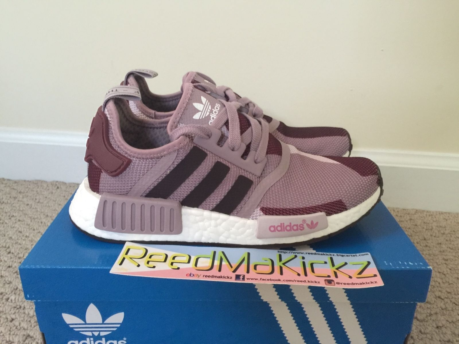 sports shoes c22e2 456b1 Adidas NMD R1 Blanch Purple Womens sizes S75721