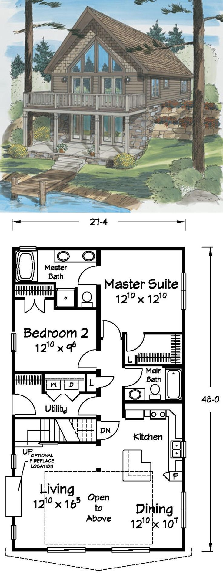 This Cape Chalet Is The Perfect Lake Front Home With Spacious Open To Above Ceilings Lake House Plans Basement House Plans Mountain House Plans
