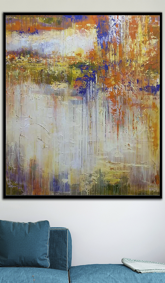 Large Colorful Wall Painting Large Gold Abstract Oil Painting