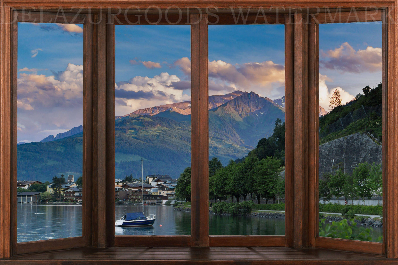 Lake Town Window View Wallpaper Peel And Stick Etsy Window View View Wallpaper Removable Wall Murals