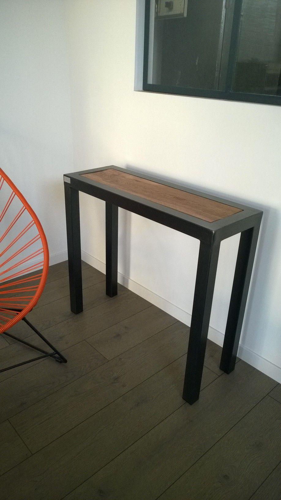 console bois m tal console industrielle console. Black Bedroom Furniture Sets. Home Design Ideas