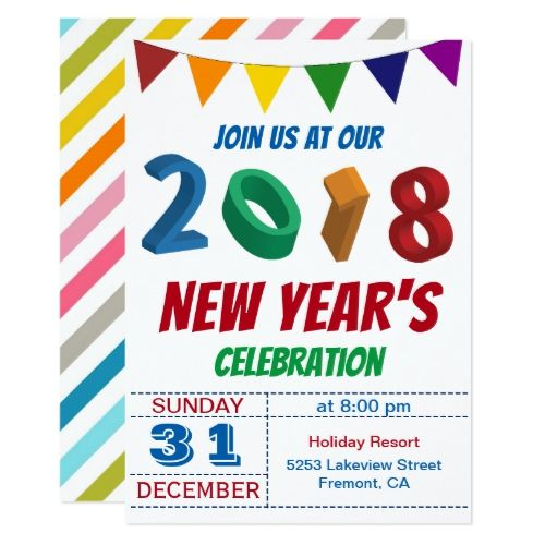 fun colorful 2018 new years eve party invitation