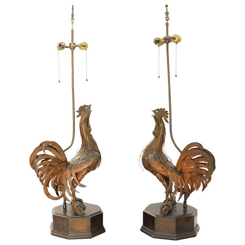 Pair Of 19th C Bronze Rooster Lamps Antique Lighting Lamps For Sale Bronze