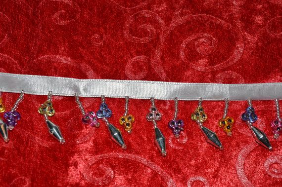 MULTI COLORED  Bead Trim Trim Hangs 1 Inches long Below the Ribbon 1  yard