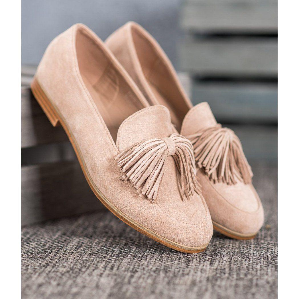 Seastar Zamszowe Obuwie Z Fredzlami Brazowe Shoes Loafers Glamour