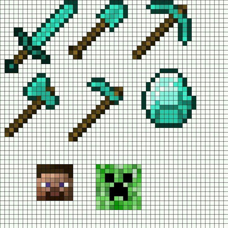 Minecraft Herramientas De Minecraft Plantillas Hama Beads