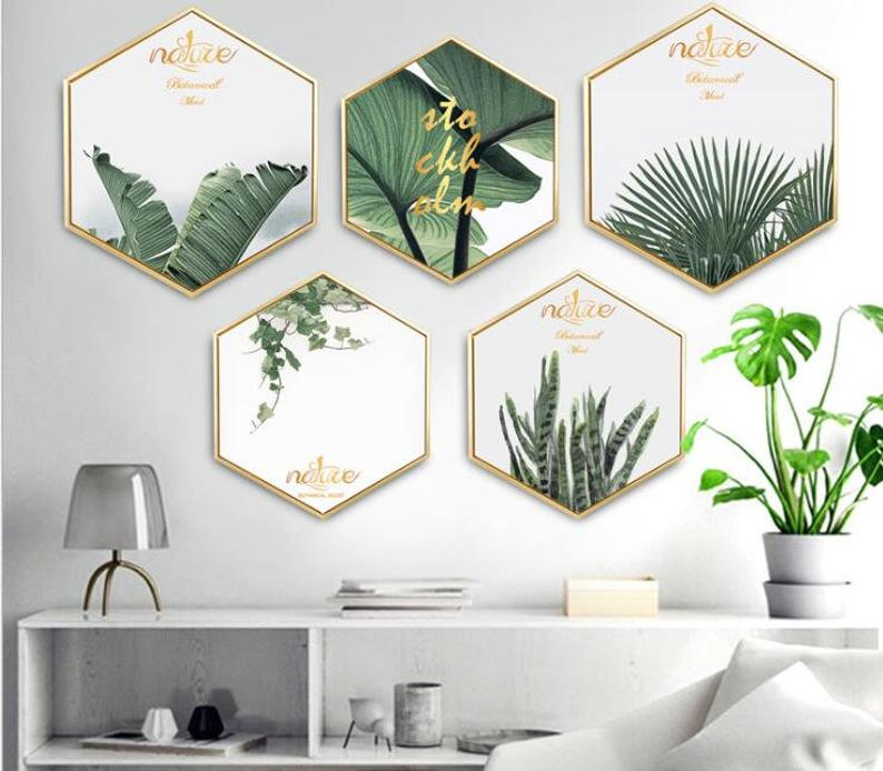 Modern Tropical Leaves Hexagon Canvas Art Green Plant Photo Etsy In 2021 Hexagon Canvas Framed Art Wall Decor Home Wall Decor